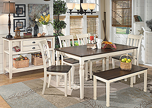 Whitesburg Rectangular Dining Table w/ 4 Side Chairs, Bench & Server,Signature Design by Ashley