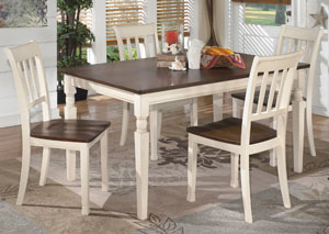 Whitesburg Rectangular Dining Table w/ 4 Side Chairs