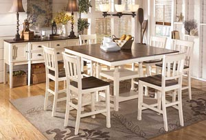 Whitesburg Square Counter Extension Table w/ 6 Stools & Server,Signature Design by Ashley