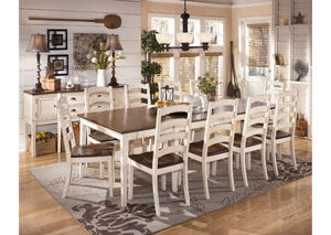 Whitesburg Rectangular Extension Table & 10 Side Chairs,Signature Design by Ashley