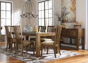 Birnalla Rectangular Extension Dining Table w/ 6 Side Chairs & Server,Signature Design by Ashley
