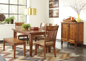 Shallibay Rectangular Dining Table w/ Bench & 4 Side Chairs