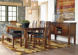Ralene Rectangular Extension Table w/ 4 Upholstered Side Chairs, Bench & Server,ABF Signature Design by Ashley