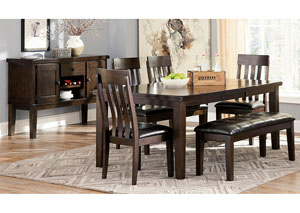 Haddigan Dark Brown Rectangle Dining Room Extension Table w/ 4 Upholstered Side Chairs & Bench