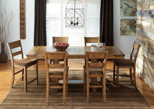 Krinden Counter Height Extension Table w/ 6 Upholstered Barstools,Signature Design by Ashley