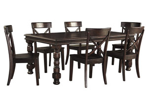 Gerlane Dark Brown Rectangular Dining Room Extension Table w/ 6 Side Chairs,Signature Design by Ashley