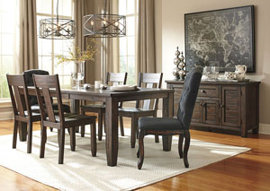 Trudell Golden Brown Rectangular Dining Room Extension Table w/ 2 Upholstered Side Chairs and 4 Side Chairs,Signature Design by Ashley