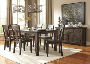 Trudell Golden Brown Rectangular Dining Room Extension Table w/ 4 Side Chairs