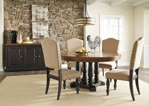 Shardinelle Round Dining Table w/ 4 Side Chairs