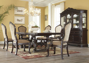 Wendlowe Rectangular Pedestal Dining Table w/ 4 Side Chairs & 2 Arm Chairs