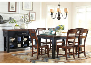 Marileze Rectangular Extension Table w/ 6 Dining Chairs