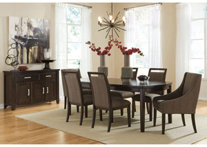 Lanquist Rectangular Extension Dining Table w/ 4 Side Chairs & 2 Arm Chairs,Signature Design by Ashley