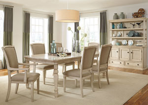 Demarlos Extension Dining Table w/ 4 Side Chairs, 2 Arm Chairs & Server w/ Hutch,Signature Design by Ashley
