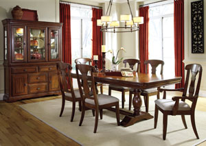 Leximore Double Pedestal Table w/ 4 Side Chairs, 2 Arm Chairs, Server & Hutch