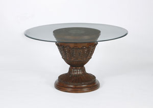 Ledelle Round Glass Top Pedestal Table