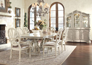 Ortanique Rectangular Dining Table w/ 4 Side Chairs & 2 Arm Chairs