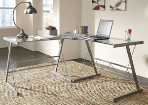 Ondie Silver Finish L-Desk