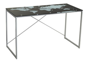 Ondie Silver Finish Home Office Desk