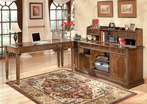 Hamlyn Large L-Shaped Desk w/ Hutch & Credenza