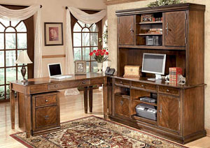 Hamlyn Large L-Shaped Desk w/ Large Hutch & Credenza & File Cabinet