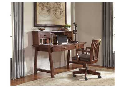 Wassner Dark Brown Home Office Large Leg Desk w/ Hutch and Swivel Desk Chair