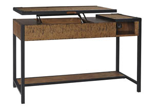 kalean two tone home office lift top desksignature design by ashley baybrin rustic brown home office small