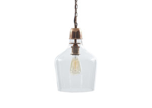 Hadi Clear/Copper Finish Glass Pendant Light