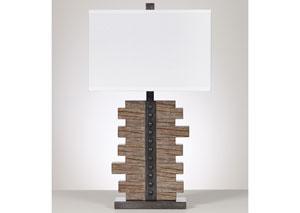Sakina Faux Wood & Pewter Table Lamp (Set of 2)