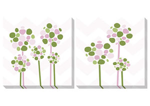 Berry Pink/White/Green Wall Art Set (Set of 2)