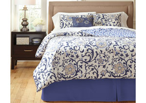 Electric Floral Blue King Top of Bed Set