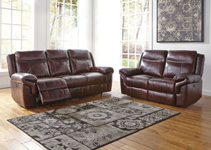 Zephen Mahogany Reclining Sofa and Loveseat,Signature Design by Ashley