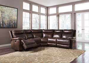 Zaiden Antique Left Facing Sectional w/ Right Facing Zero Wall Power Recliner,Signature Design by Ashley