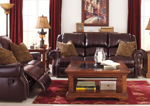 Walworth Black Cherry Reclining Power Sofa & Loveseat,Signature Design by Ashley