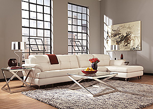 Gunter Brilliant White Extended Sectional