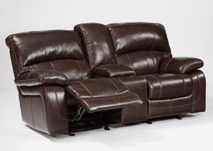 Damacio Dark Brown Glider Reclining Loveseat w/ Console,Signature Design by Ashley