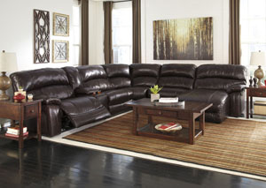 Damacio Dark Brown Reclining Right Facing Chaise End Power Sectional w/ Console,Signature Design by Ashley