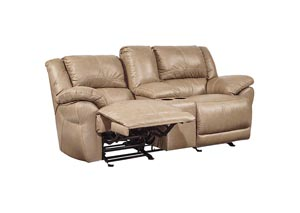 Lenoris Caramel Glider Reclining Loveseat w/ Console,Signature Design by Ashley