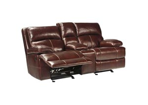 Lensar Burgundy Glider Reclining Loveseat w/ Console,Signature Design by Ashley
