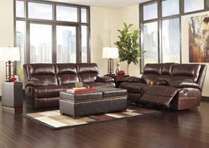 Lensar Burgundy Reclining Power Sofa & Loveseat