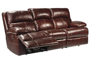 Lensar Burgundy Reclining Sofa