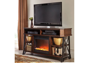 Vinasville Large TV Stand w/ LED Fireplace Insert