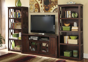 Devrik Large TV Stand w/ 2 Bookcases