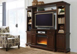 Porter Entertainment Center w/ LED Fireplace Insert