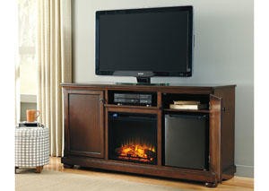Porter Large TV Stand w/ LED Fireplace & Electric Cooler