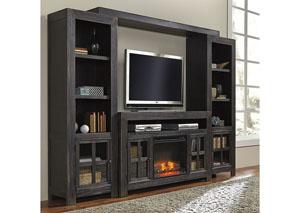 Gavelston Black Entertainment Center w/ LED Fireplace Insert