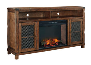 Tamonie Rustic Brown XL TV Stand with LED Fireplace,Signature Design by Ashley