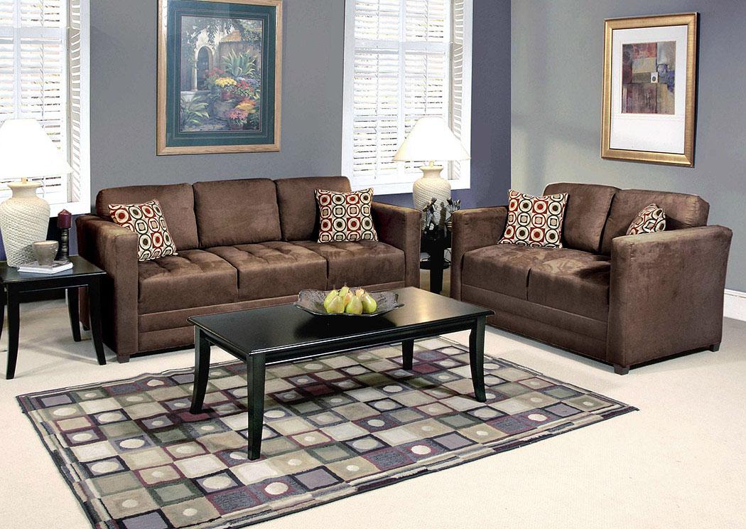 Roses Flooring And Furniture Sienna Chocolate Skinny Minnie Godiva Stationary Sofa