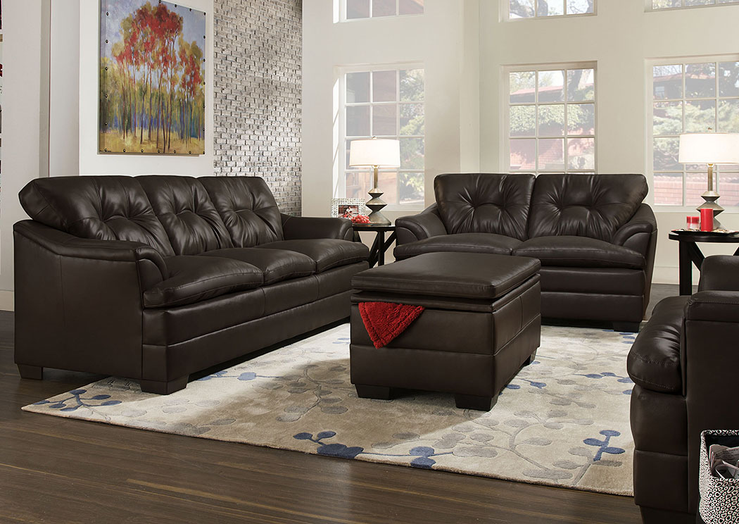 Atlantic Bedding And Furniture Apollo Espresso Sofa And Loveseat