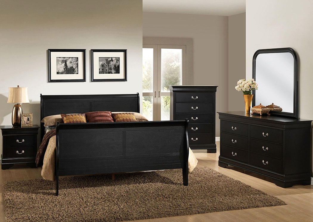 Atlantic Bedding and Furniture Louis Black Queen Sleigh Bed