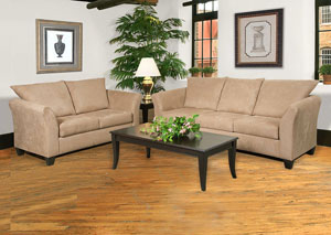 Sienna Mocha Stationary Sofa and Loveseat,ABF Serta Hughes